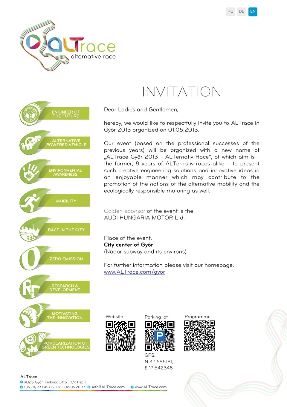 ALTrace Győr 2013 Invitation